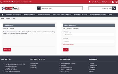 Screenshot of Login Page hoseshop.net - Account Login - captured Sept. 6, 2017
