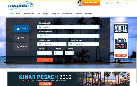 Screenshot of Home Page traveldealisrael.com - Jerusalem Hotels, Trips & Tours | Israel Travel Agency | Travel Deal Israel - captured Feb. 24, 2016