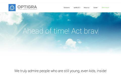 Screenshot of About Page optigra-soft.com - Optigra | Ahead of time - captured Nov. 20, 2018