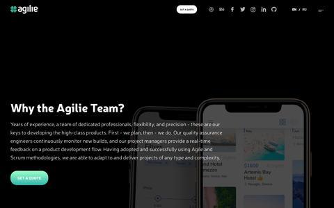 Screenshot of Services Page agilie.com - Agilie | Services - captured Aug. 20, 2019
