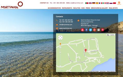 Screenshot of Contact Page imartinhal.com - Contacts - Luxury Family Martinhal Beach Resort & Hotel - captured Oct. 31, 2014