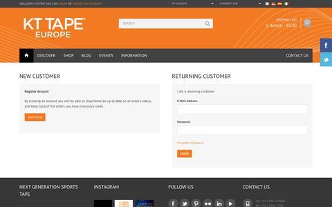 Screenshot of Login Page kttapeeurope.com - Account Login - captured Oct. 6, 2014