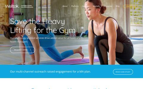 Screenshot of Services Page welltok.com - Welltok l Optimizing Health, Maximizing Rewards |   Services - captured July 30, 2017