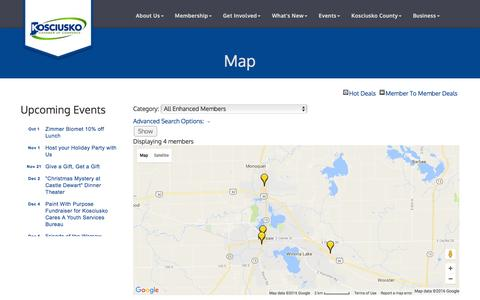 Screenshot of Maps & Directions Page kchamber.com - Map - Kosciusko Chamber of Commerce, IN - captured Dec. 3, 2016