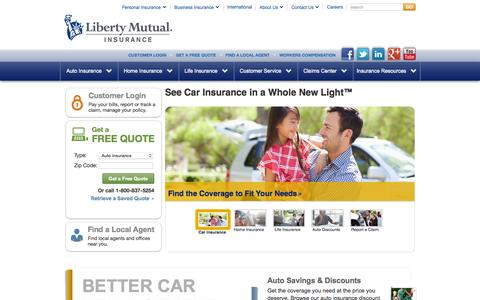 Screenshot of Home Page libertymutual.com - Insurance for Auto, Home, and Life | Liberty Mutual - captured Oct. 20, 2015