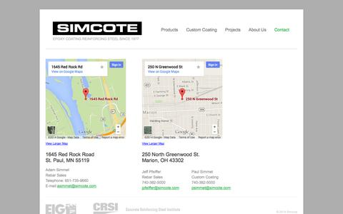 Screenshot of Contact Page Locations Page simcote.com - Contact | SimcoteSimcote - captured Oct. 23, 2014
