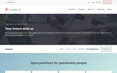 Screenshot of Jobs Page avepoint.com - About | Careers | AvePoint - captured July 9, 2018