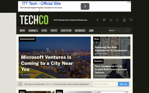 Screenshot of Press Page tech.co - News - Tech & Startup News, Events & Resources from Tech.Co - captured Oct. 1, 2015