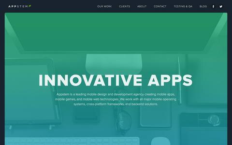 Screenshot of Home Page appstem.com - Appstem | Mobile App Development: iOS, Android, & Cross-Platform Apps - captured Oct. 3, 2014