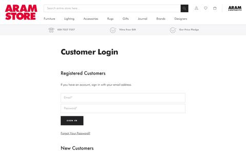 Screenshot of Login Page aram.co.uk - Customer Login - captured June 14, 2019