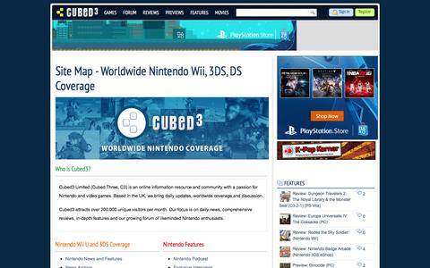 Screenshot of Site Map Page cubed3.com - Site Map - Worldwide Nintendo Wii, 3DS, DS Coverage - Cubed3 - captured Dec. 13, 2015