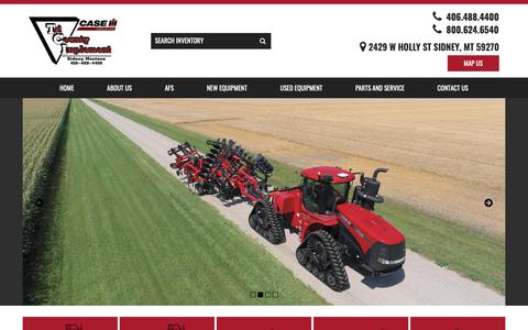 Screenshot of Home Page tri-cnty.com - Tri-County Implement - New & Used Agricultural Equipment, Service, and Parts in Sidney, MT, near Lambert, Fairview, Alexander and Glendive - captured Dec. 4, 2018