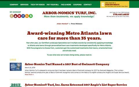 Screenshot of Press Page arbor-nomics.com - Press Releases | Arbor-Nomics® - captured June 28, 2018