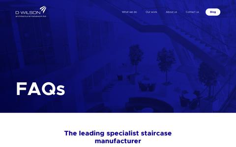 Screenshot of FAQ Page dwilsonltd.com - FAQs | D Wilson | Leading Staircase Designs Specialists - captured Sept. 28, 2018