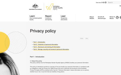 Screenshot of Privacy Page wgea.gov.au - Privacy policy | The Workplace Gender Equality Agency - captured Oct. 27, 2017