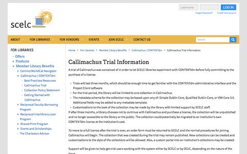 Screenshot of Trial Page scelc.org - Callimachus Trial Information | SCELC - captured Sept. 29, 2017