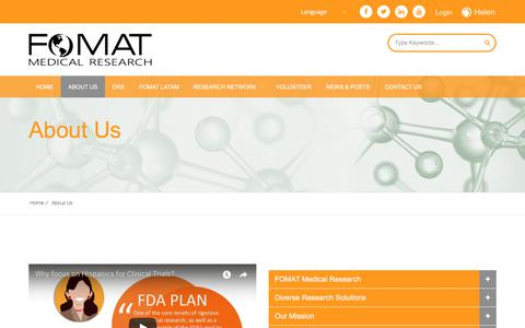 Screenshot of About Page fomatmedical.com - Diversity in Clinical Trials │ CRO Latin America – FOMAT Medical - captured Oct. 13, 2017
