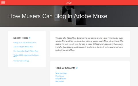 How Musers Can Blog In Adobe Muse