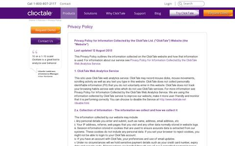 Screenshot of Privacy Page clicktale.com - Privacy | Web Analytics by ClickTale - captured July 21, 2014