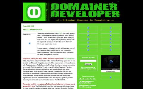 Screenshot of Home Page domainerdeveloper.com - Domain Developer Domain Broker - Jamie Parks - DomainerDeveloper.com | Bringing Meaning To Domaining - captured Oct. 1, 2014