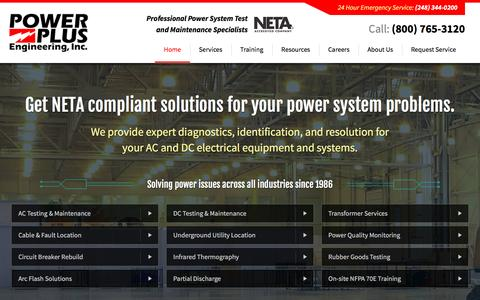 Screenshot of Home Page epowerplus.com - Commercial Electrical Testing Novi Michigan - Power Plus Engineering - captured Oct. 8, 2016