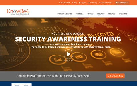 Screenshot of Home Page knowbe4.com - Security Awareness Training | KnowBe4 - captured March 1, 2019