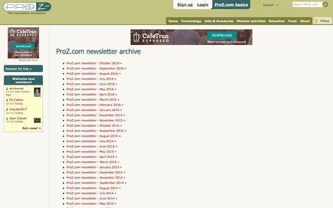 ProZ.com Newsletter Archive