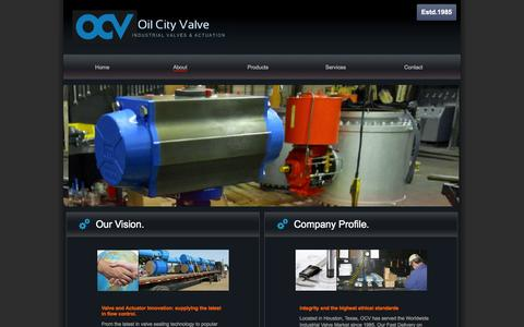 Screenshot of About Page oilcityvalve.com - About | Oil City Valve- Valve Distribution and Automation- Houston TX- - captured Oct. 27, 2014