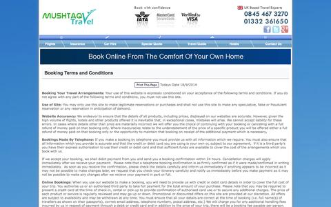 Screenshot of Terms Page mushtaqtravel.co.uk - Mushtaq Travel Terms & Conditions - captured Sept. 18, 2014