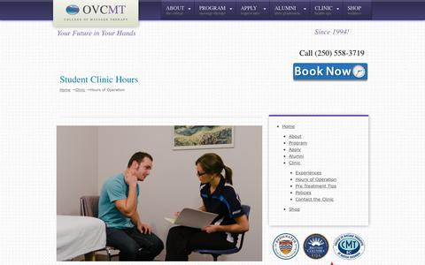 Screenshot of Hours Page ovcmt.com - Spa Hours | Okanagan Valley College of Massage Therapy | - captured Nov. 30, 2016