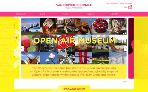 Screenshot of Home Page vancouverbiennale.com - Vancouver Biennale - captured Sept. 30, 2014
