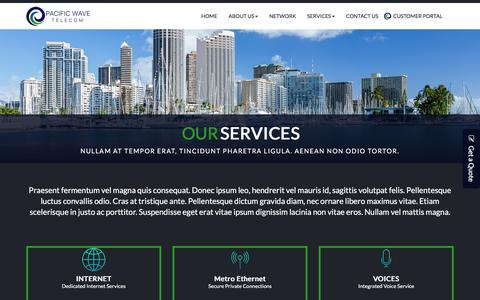 Screenshot of Services Page pac-wave.com - Services - captured July 12, 2017
