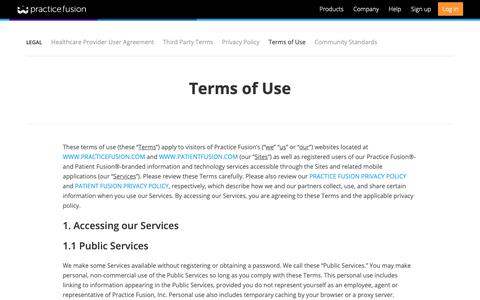 Screenshot of Terms Page practicefusion.com - Practice Fusion | Terms of Use - captured May 9, 2019