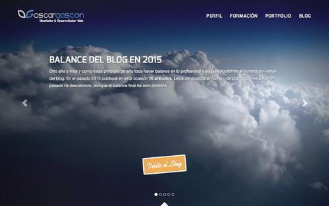Screenshot of Home Page oscargascon.es - Diseñador web y desarrollador PHP Zaragoza | Oscar Gascón - captured March 4, 2016