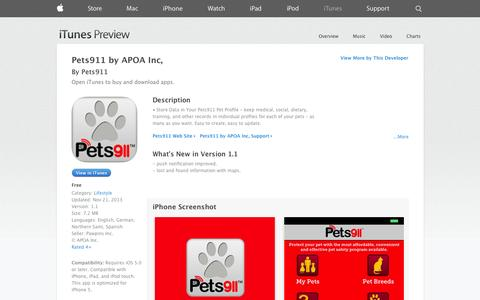 Screenshot of iOS App Page apple.com - Pets911 by APOA Inc, on the App Store on iTunes - captured Nov. 1, 2014