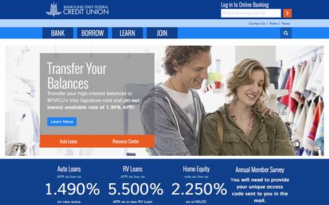 Screenshot of Home Page bfsfcu.org - Home Page - Bank-Fund Staff Federal Credit Union - captured Oct. 15, 2015