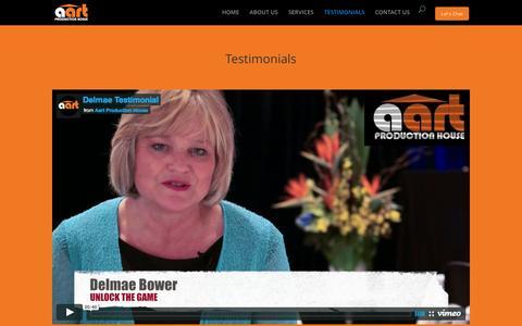 Screenshot of Testimonials Page aartproductionhouse.com - Testimonials | Video Production Sydney - captured Feb. 5, 2016