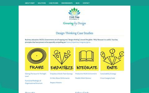 Screenshot of Case Studies Page cindytripp.com - Cindy Tripp & Company | Design Thinking Case Studies - captured Sept. 28, 2018