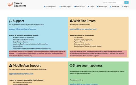 Screenshot of Support Page careerlauncher.com - Support and Feedback  Career Launcher CL - captured July 11, 2016