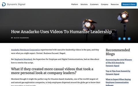 Screenshot of Team Page dynamicsignal.com - How Anadarko Uses Videos to Humanize Leadership | Dynamic Signal - captured Nov. 4, 2019