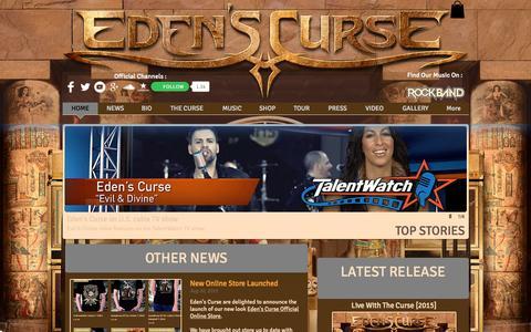 Screenshot of Home Page edenscurse.com - The Official Website of Eden's Curse - captured Sept. 26, 2015