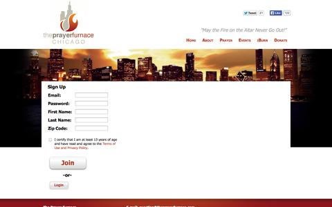 Screenshot of Signup Page theprayerfurnace.com - The Prayer Furnace Chicago - Registration - captured Oct. 9, 2014