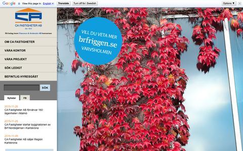 Screenshot of Home Page cafastigheter.se - Start - CA Fastigheter - captured Jan. 23, 2016