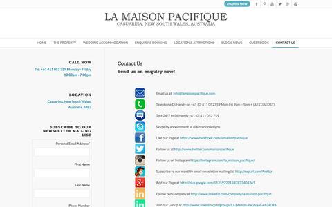 Screenshot of Contact Page lamaisonpacifique.com - La Maison Pacifique |   Contact Us - captured July 10, 2016