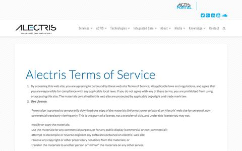 Screenshot of Terms Page alectris.com - Terms of Service   Alectris - captured July 29, 2018