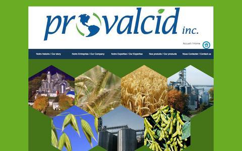 Screenshot of Home Page provalcid.com - PROVALCID INC., VARENNES, - captured Sept. 30, 2014