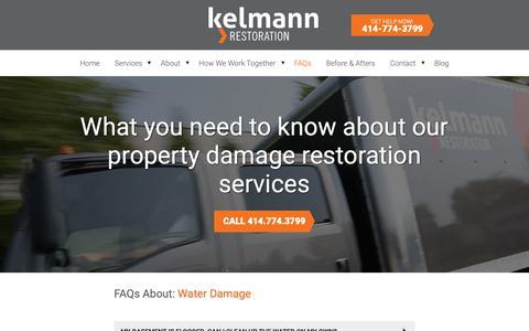 Screenshot of FAQ Page kelmann.com - FAQs | Kelmann Restoration - captured Oct. 15, 2018