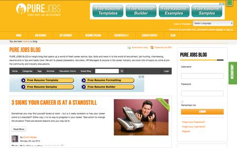Screenshot of Blog pure-jobs.com - PURE JOBS BLOG | latest Career, Resume, and Job Search blog posts - captured Feb. 11, 2016