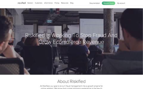 Screenshot of About Page riskified.com - eCommerce Fraud Prevention Solution | Riskified - captured May 9, 2017