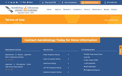 Screenshot of Terms Page aerobiology.net - Terms of Use - captured Nov. 12, 2018
